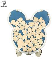 PAPA LONG Alternative Wooden Animal Frame Drop Top Guest Book for Baby Shower/Kids Birthday Keepsake Gift/Wood Registry Book Including 42pcs Small Wooden Card for Wishes