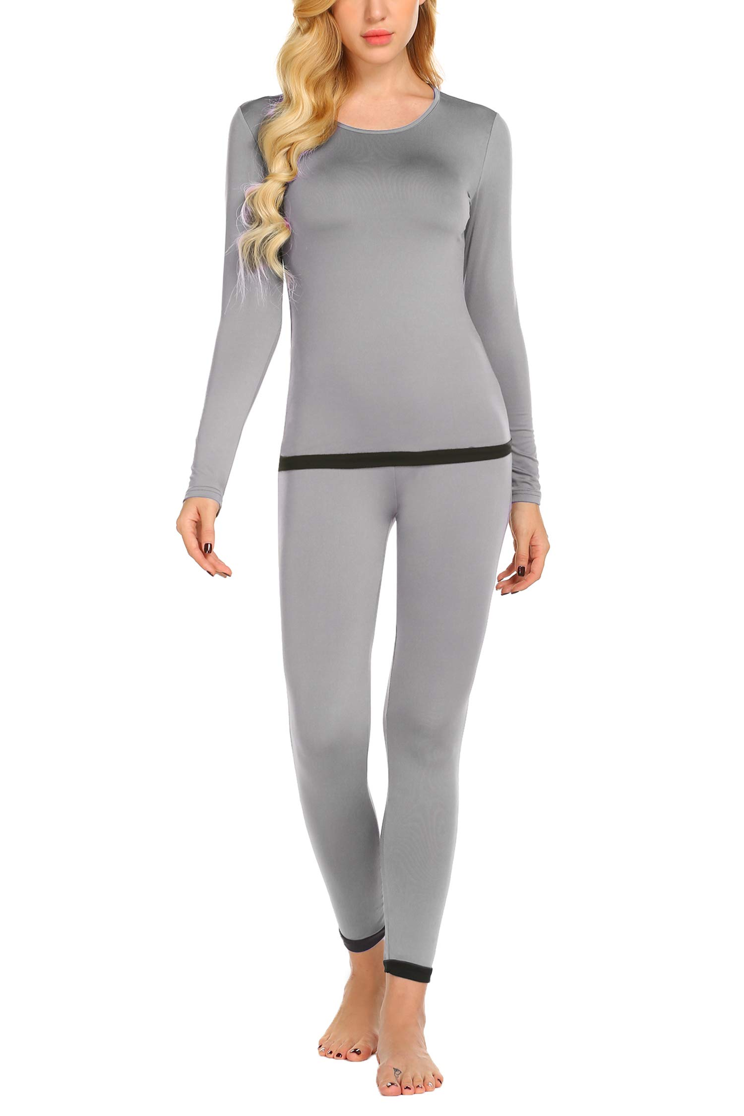 Ekouaer Women's Thermal Underwear Sets Micro Fleece Lined Long Johns Base Layer Thermals 2 Piece Set