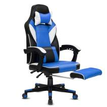 Modern-Depo High-Back Swivel Office Chair Recliner with Footrest, Headrest and Lumbar Support | Height Adjustable Ergonomic Gaming Chair - Black & Blue