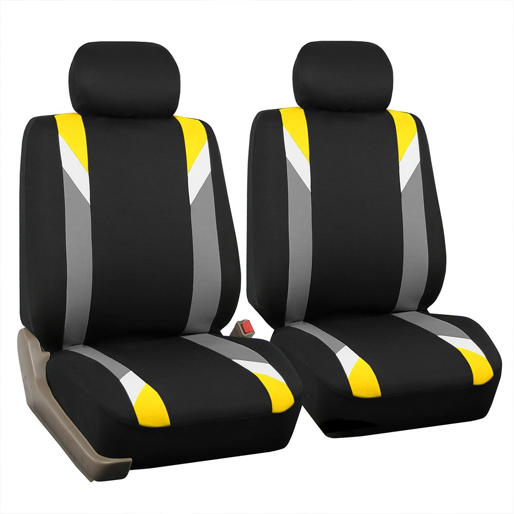 FH Group FB033YELLOW102 Bucket Seat Cover (Modernistic Airbag Compatible (Set of 2) Yellow)