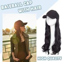 Synthetic Long Hat Hair Extensions Curly Wavy Corn Wave Hairpiece Baseball Cap With Hair Attached Adjustable Cap Black Hat Wigs Yaki Hair Extensions For Girls Lady Women(16''-Curly,Black)
