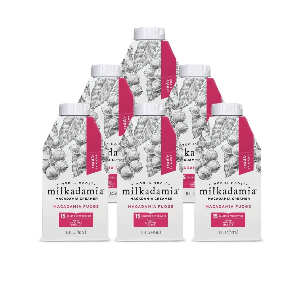 Milkadamia Fudge Creamer - Dairy Free & Vegan Coffee Creamer From Raw Macadamias & Coconut Cream - 16 Oz (Pack Of 6)