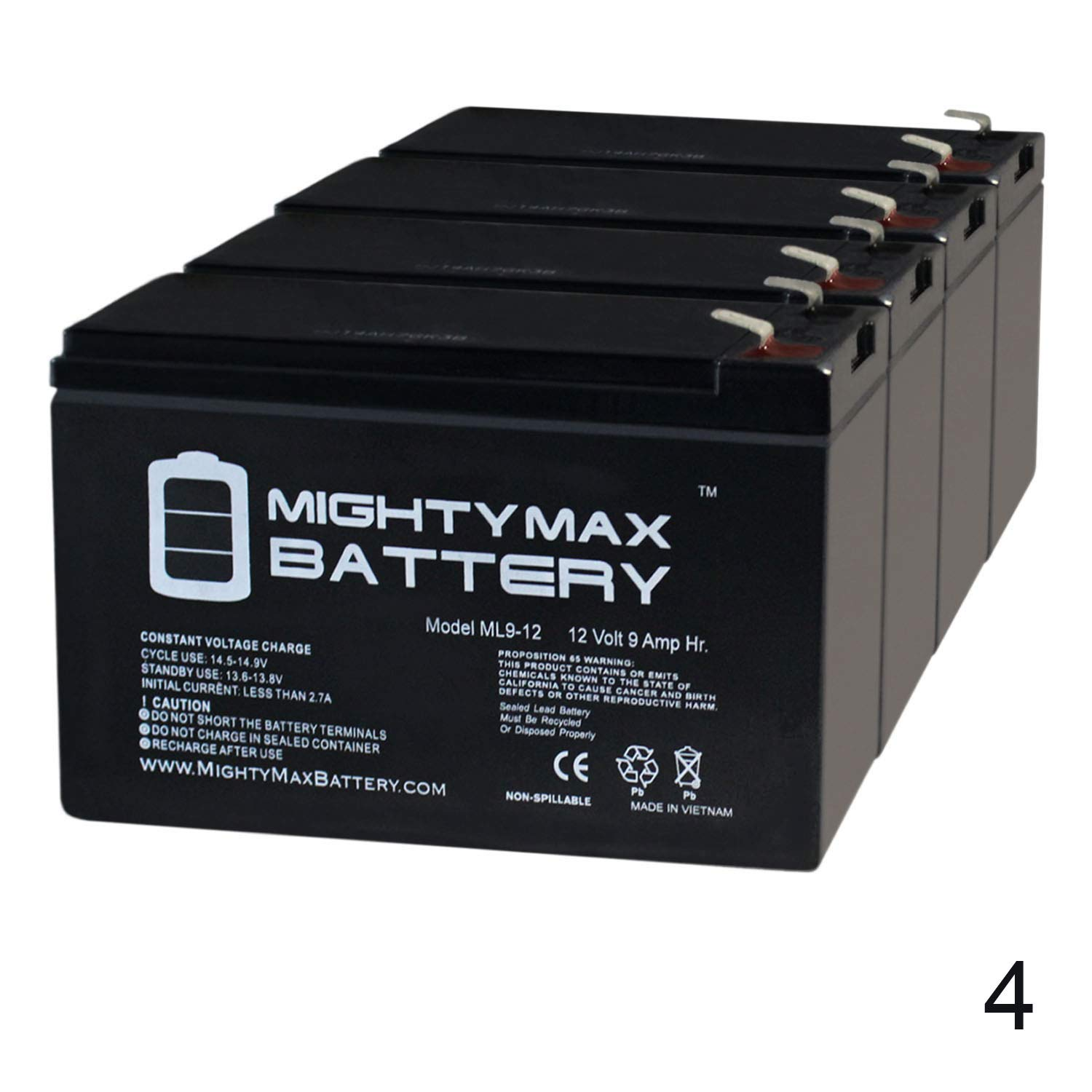 Mighty Max Battery ML9-12 - 12 Volt 9 AH SLA Battery - Pack of 4 Brand Product