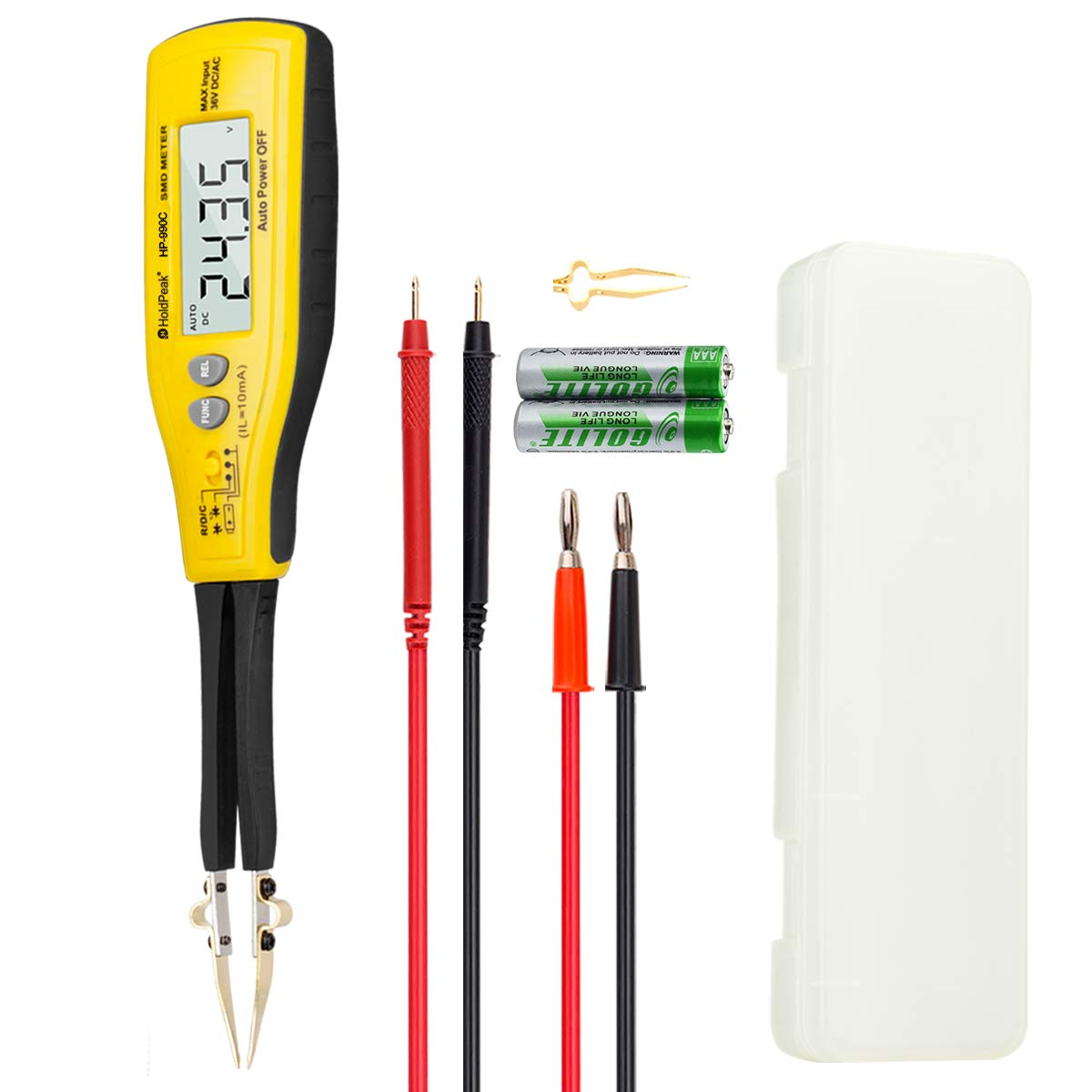 Holdpeak HP-990C Digital Smart SMD Tester 6000 Counts DMM Handheld Resistance Capacitance Tester,Digital Multimeter Auto Scan with Spare Test Pins (Battery Included)