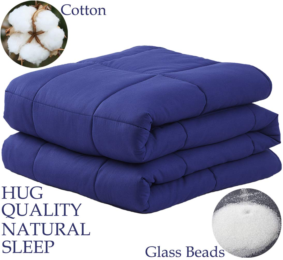 """LBRO2M Weighted Blanket Cooling for Adults and Kids (20 lbs,60""""x80""""),100% Natural Cotton Bed Heavy Blanket with Premium Safe Glass Beads,Enjoy Deep Sleep Like A Baby (Navy Blue)"""