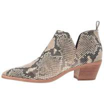 Women's Western Ankle Booties Pointed Toe Animal Print Chunky Block Heel V Cut Faux Leather Chelsea Boot