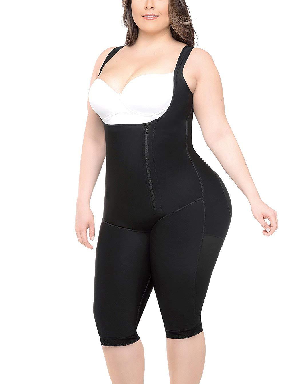 EESIM Women's Plus Size Full Body Shaper Open-Bust Slimmer Seamless Tummy Control Shapewear Bodysuit