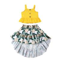 Toddler Baby Girl White Off Shoulder Ruffle Sleeve Top +Lace Floral Long Skirt Outfit Set Summer Clothes