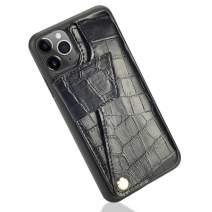 iPhone 11 Pro Max Wallet Case, iPhone 11 Pro Max Credit Card Case, ZVEdeng iPhone 11 Pro Max Case with Card Holder Bumper Phone Case Handbag Purse-Crocodile Skin Black