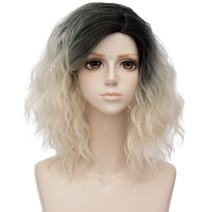Alacos 35cm Fashion Black Dark Roots Ombre Short Curly Bob Christmas Daily Costumes Wig for Women +Wig Cap (Beige)
