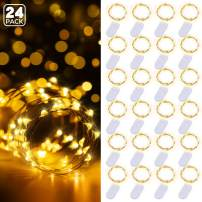 Govee 24 Pack Fairy Lights 3.3 Feet with 20 LEDs, Battery Operated String Lights Waterproof Flexible Silver-Plated Copper Wire Light for Christmas, Wedding, Home, Party, Festivals- Warm White