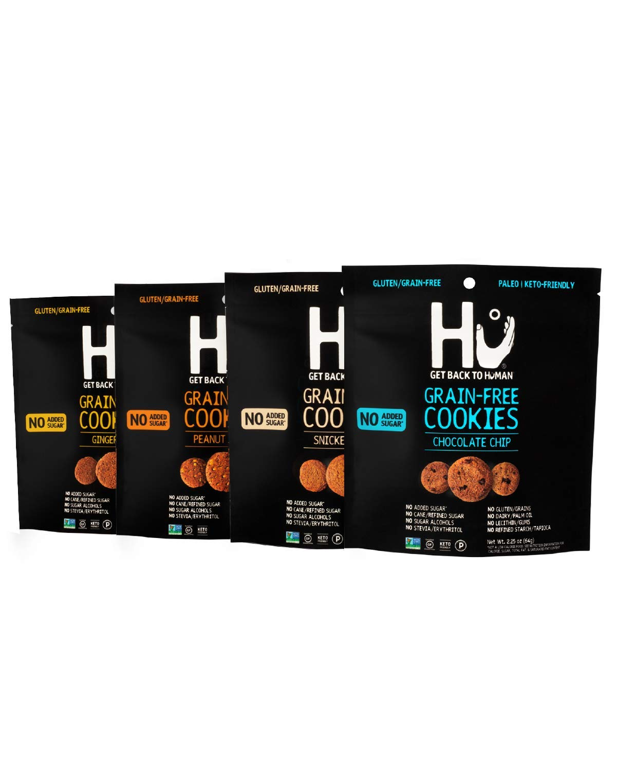 Hu Keto Snacks Variety Pack | 4 Flavor Pack | Gluten Free, Grain Free, Dairy Free & No Added Sugar Snack | Paleo, Non GMO Certified & Keto Friendly Desserts | Crunchy Assorted Mini Cookies