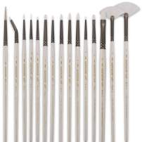 Detail Paint Brush Set - 15 pcs Synthetic Hair Art Paint Brush Set for Detail Painting, Watercolor, Acrylic, Oil Painting