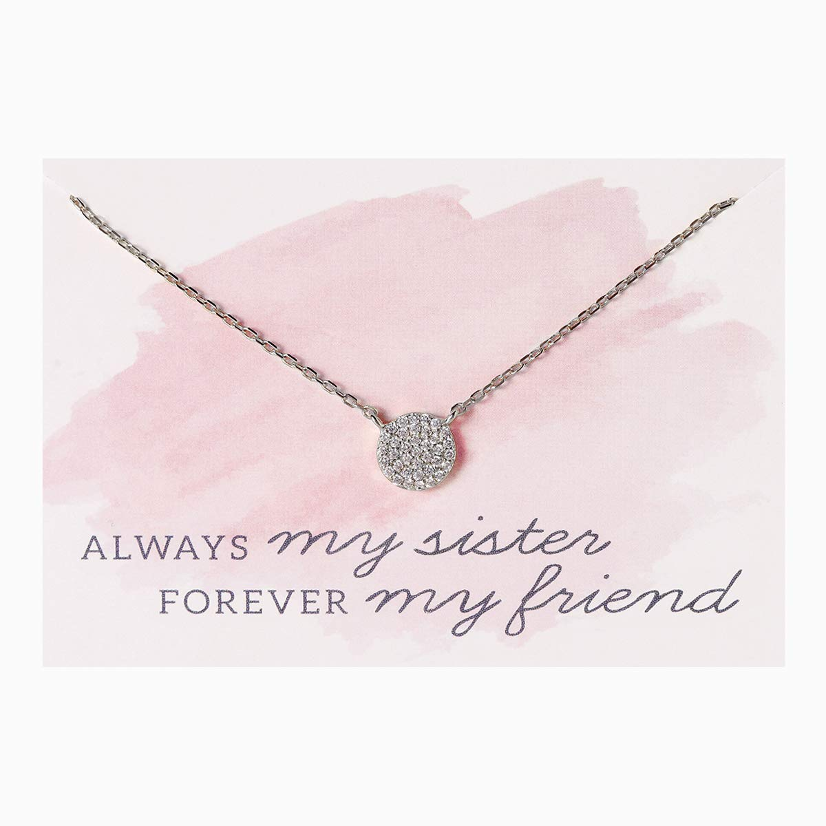 A+O Gift for Sister, Petite CZ Disk Pendant Necklace in Gold, Rose Gold or Silver