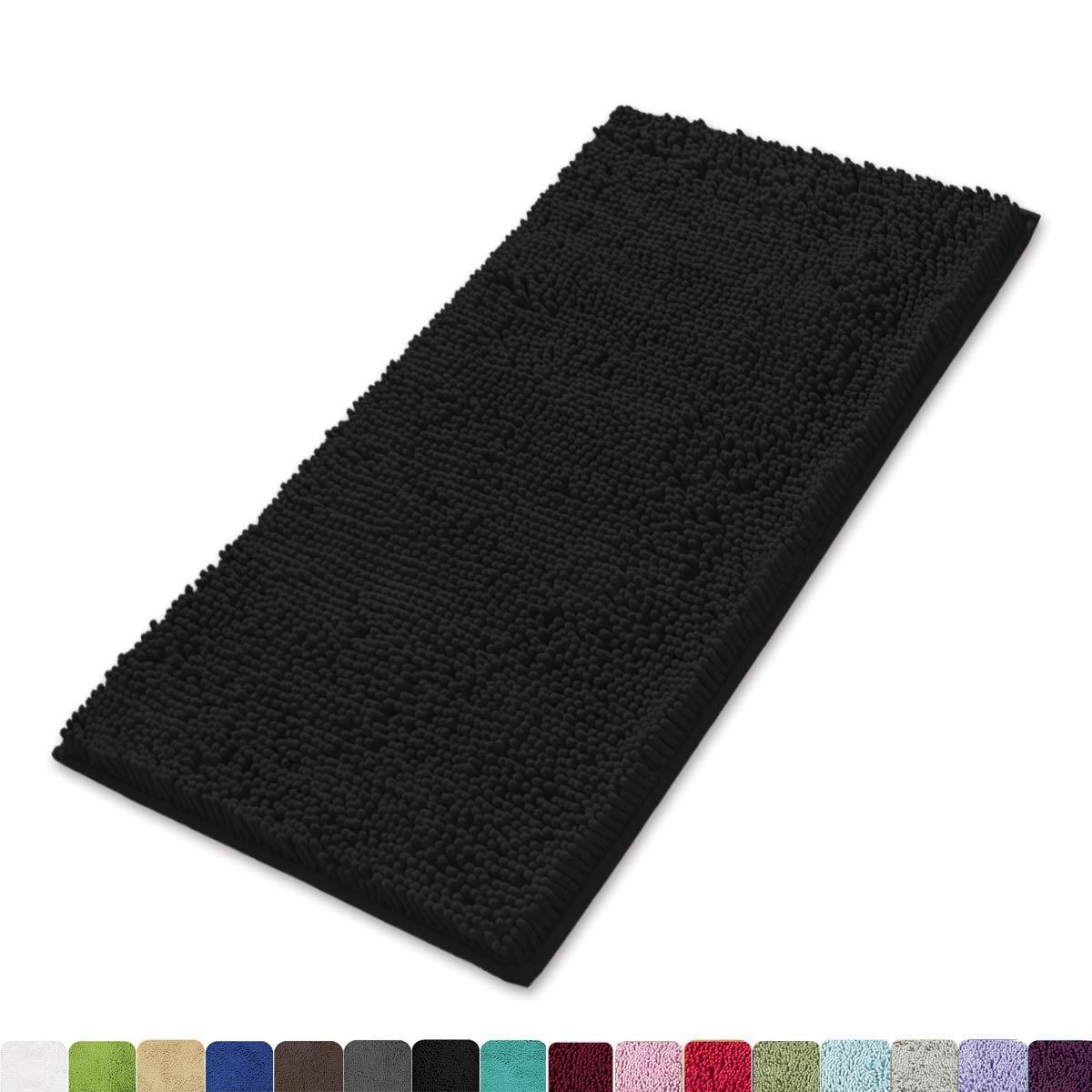MAYSHINE Non-Slip Bathroom Rug Shag Shower Mat (24x39 Inches) Machine-Washable Bath Mats Water Absorbent Soft Microfibers- Black