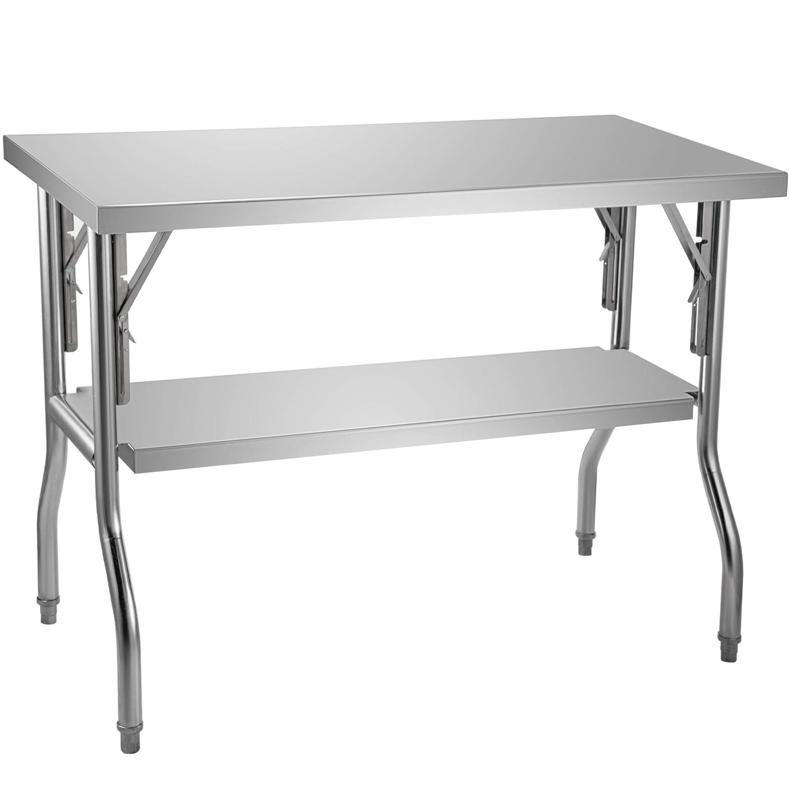 VEVOR Commercial Worktable Workstation 48x30 Inch Folding Commercial Prep Table, Double-Shelf Stainless Steel Folding Table, Kitchen Work Table with 772 lbs Load Silver Stainless Steel Kitchen Island