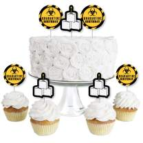 Big Dot of Happiness Happy Quarantine Birthday - Dessert Cupcake Toppers - Social Distancing Party Clear Treat Picks - Set of 24