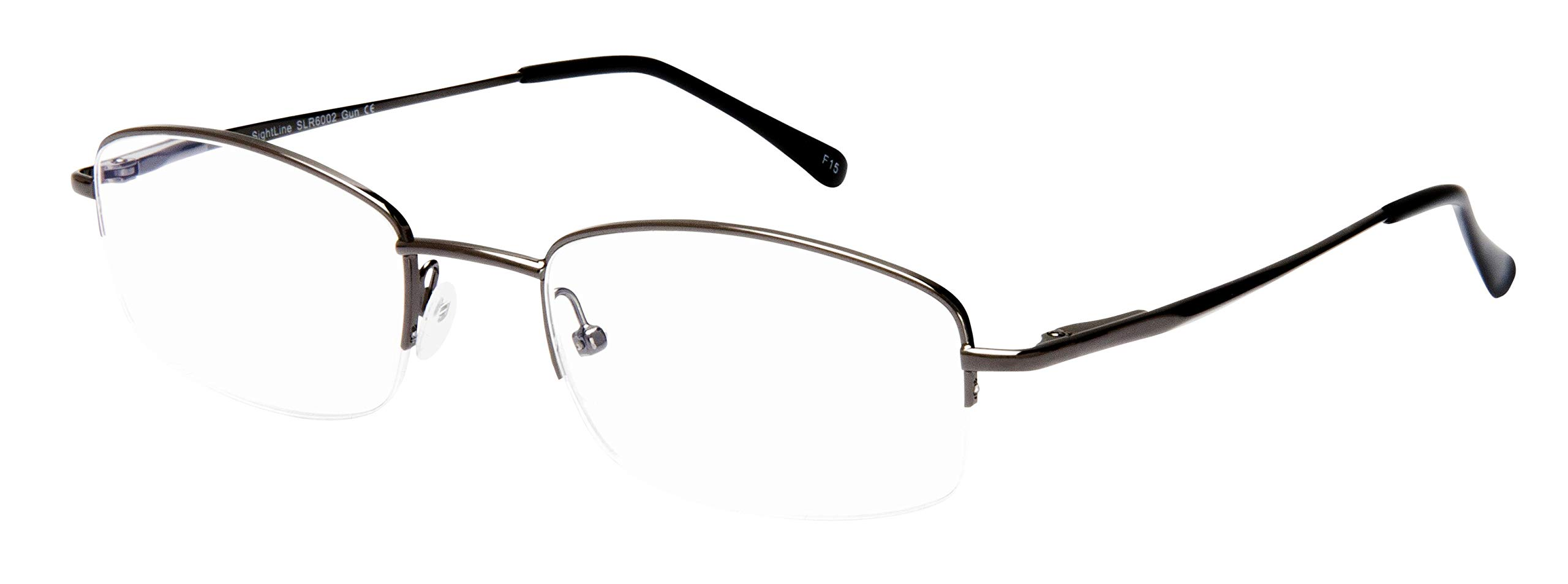 Sightline 6002 Progressive Multi Focus Reading Glasses Lightweight Semi-Rimless