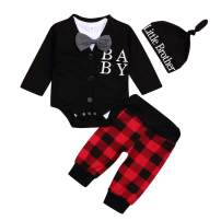 Christmas Outfits Newborn Infant Baby Girl Boys Bowknot Shorts+Letter Print Top+Plaid Pants+ Little Man Hat Clothing Sets