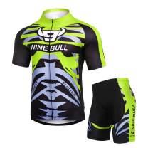Men's Cycling Jersey Set - Reflective Quick-Dry Biking Shirt and 3D Padded Cycling Bike Shorts