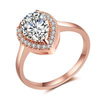 dnswez Tear Drop Wedding Ring Drop Wedding Band Pearl Rose Gold Engagement Rings for Women