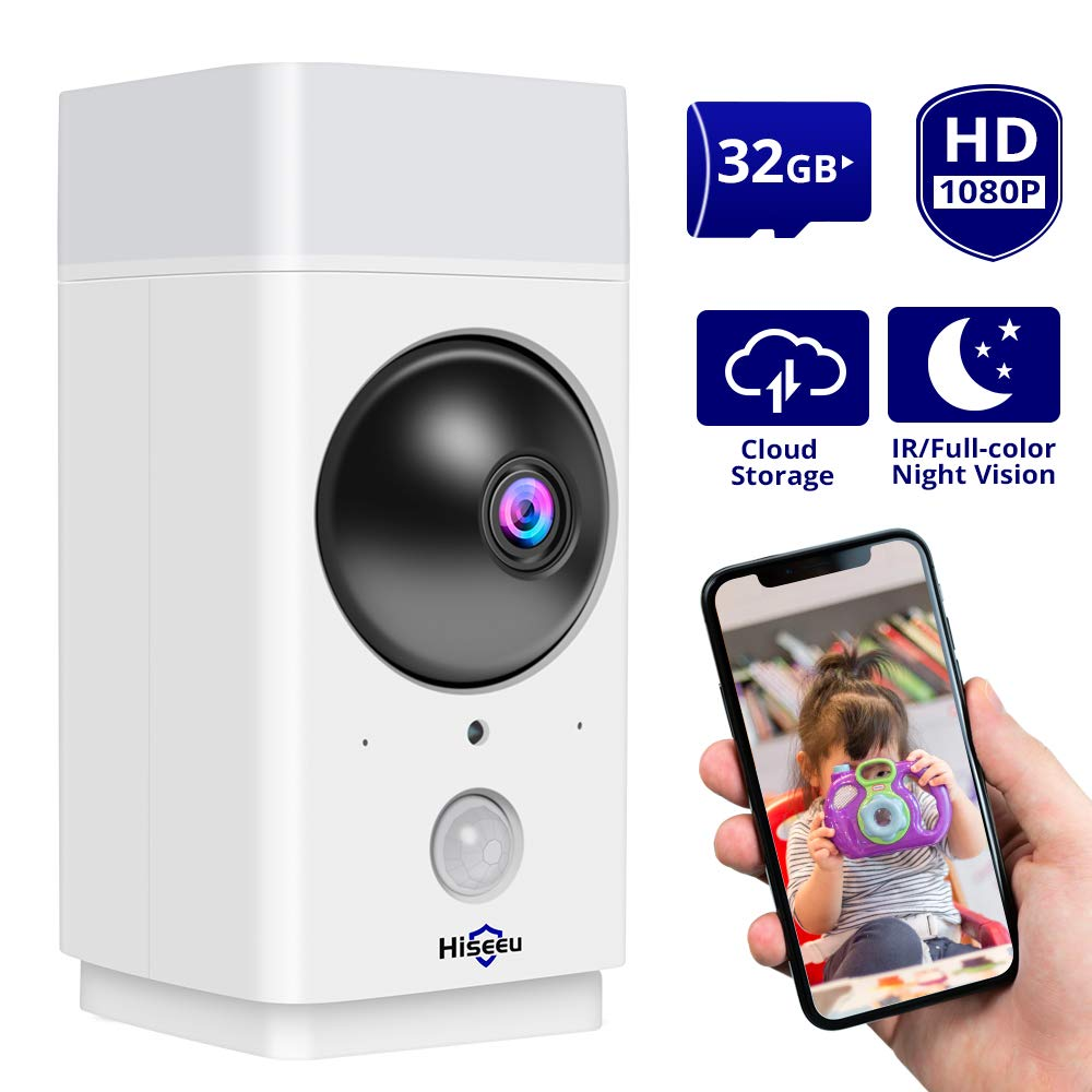 [32GB Preinstalled] 1080P Wireless Security Camera Hiseeu PTZ Indoor WiFi Camera Pet Camera Smart Home Camera Infrared/Full-Color Night Vision, Two-Way Audio,Motion Detection, Works with Alexa