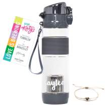 DRINK KATY'S | Tea Infuser Tumbler for Loose Tea + Free 14k Gold Dipped Love Bracelet | Travel Tea Bottle to Brew Anywhere & Hydrate Deliciously - Shatterproof, Lockable, BPA Free - 16oz (Earl Grey)
