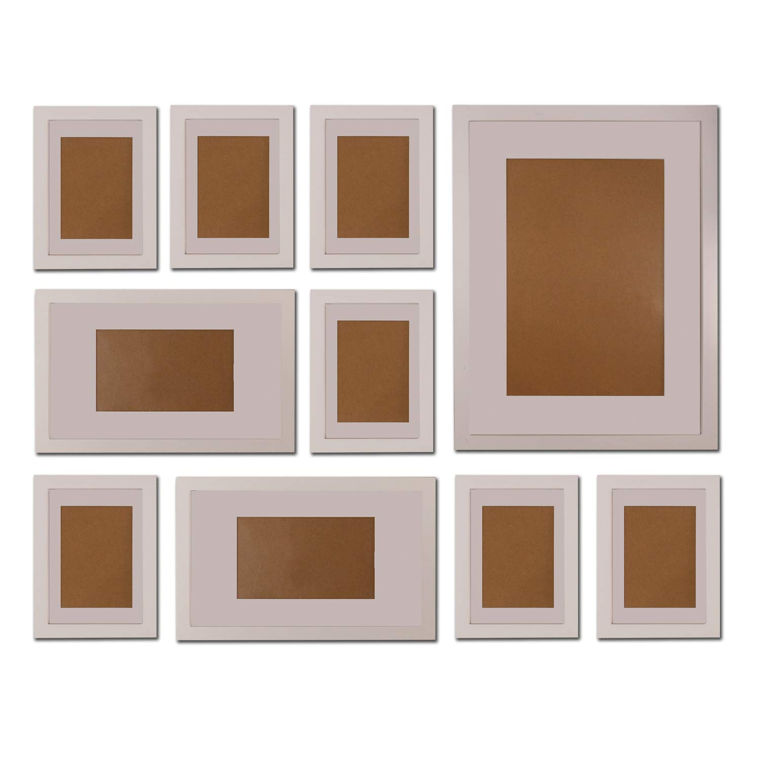 "FUNTRESS 10 Pieces Gallery Wall Photo Frames Set for Wall 16'' 12"" 7"" Size Wooden Combination Pictures Frames Baby Room Living Room with Mats(White)"