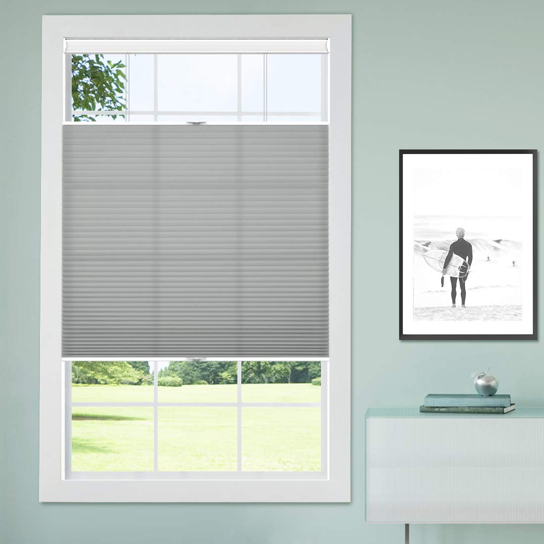 "Keego Cellular Shades Cordless Top Down Bottom Up Honeycomb Blinds, Custom Cut to Size Window Blind, 25"" W x 48"" H, Grey"