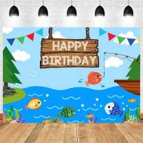 Summer Fishing Pond Gone Fishing Happy Birthday Photography Backdrop Our Little Man is The Big One Kids Boys Birthday Party Cake Table Photo Decoration Banner Props 5x3t