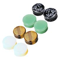 MoBody 4 Pairs Mixed Natural Stone Ear Gauge Plugs Set Double Flared Ear Stretching Expanders Kit 8G-00G