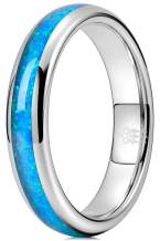 THREE KEYS JEWELRY 4mm 6mm 8mm Blue Opal Rings for Men Women Silver Tungsten Engagement Wedding Gifts Bands