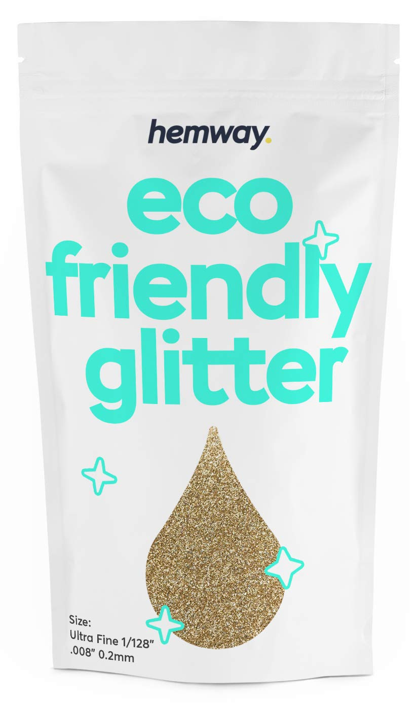 """Hemway Eco Friendly Biodegradable Glitter 100g / 3.5oz Bio Cosmetic Safe Sparkle Vegan for Face, Eyeshadow, Body, Hair, Nail and Festival Makeup, Craft - 1/128"""" 0.008"""" 0.2mm - Champagne"""