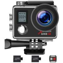 Campark Action Camera 4K WiFi Ultra HD Webcam PC Camera Underwater 30M 170°Wide-Angle Lens with Remote Control 2 Batteries and Mounting Accessories Kit