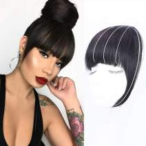 Clip in Bangs Real Human Hair Flat Bangs Remy Fringe Hair Extensions Thick Full Tied Bangs with Temples Clip on Hair Pieces for Women