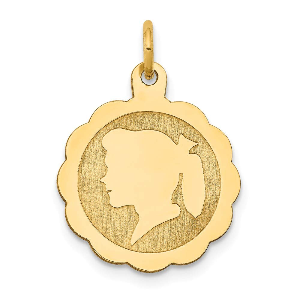 14k Yellow Gold Girl Head On .009 Gauge Engravable Scalloped Disc Pendant Charm Necklace Left Facing Boy Laser Designed Fine Jewelry For Women Gifts For Her