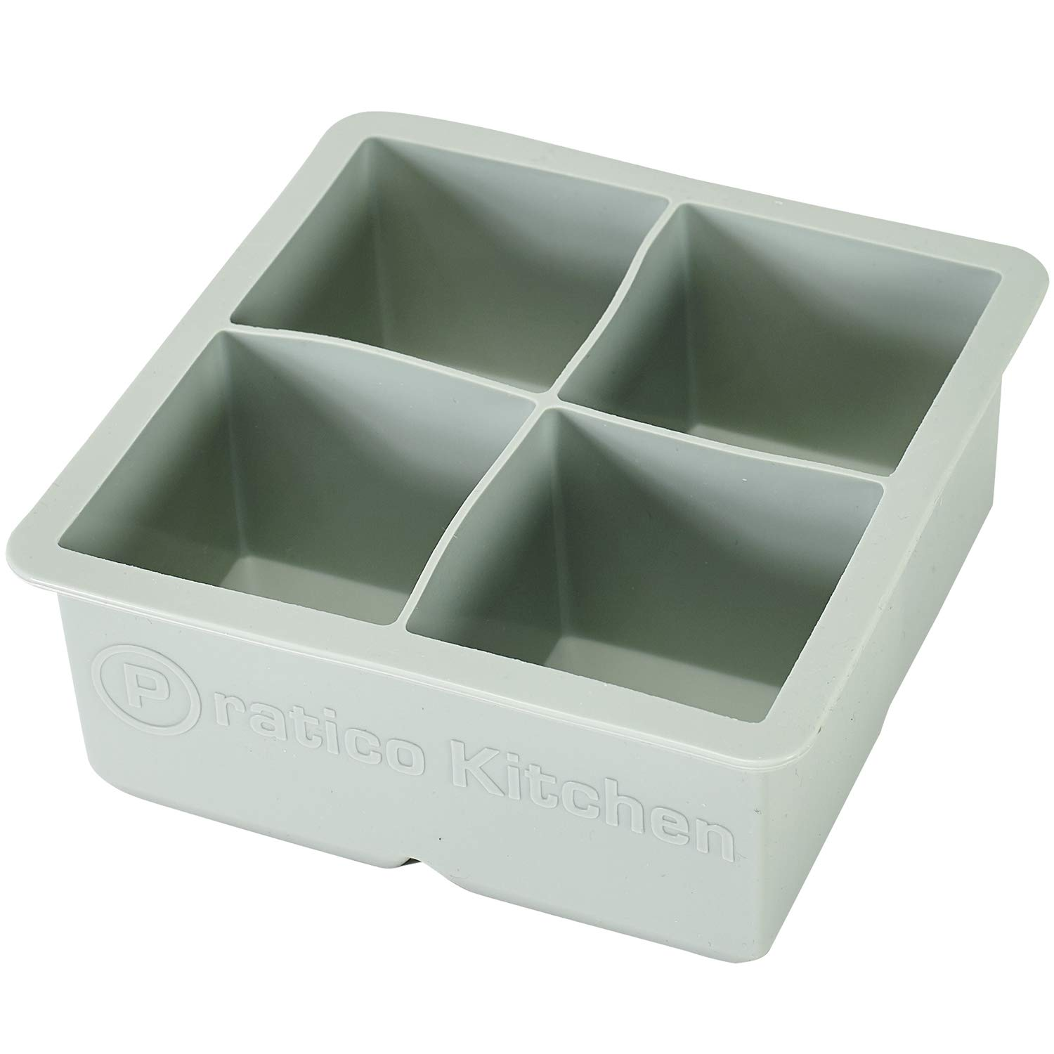 Large Ice Cube Mold - Makes 4 Jumbo 2.25 Inch Big Ice Cubes - Prevent Diluting Your Scotch, Whiskey, Cocktails - Keep Drinks Chilled with PratiCube Large Ice Cube Trays - 1 Pack
