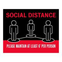"Social Distancing Sign - Black/Red (5"" x 7"")"