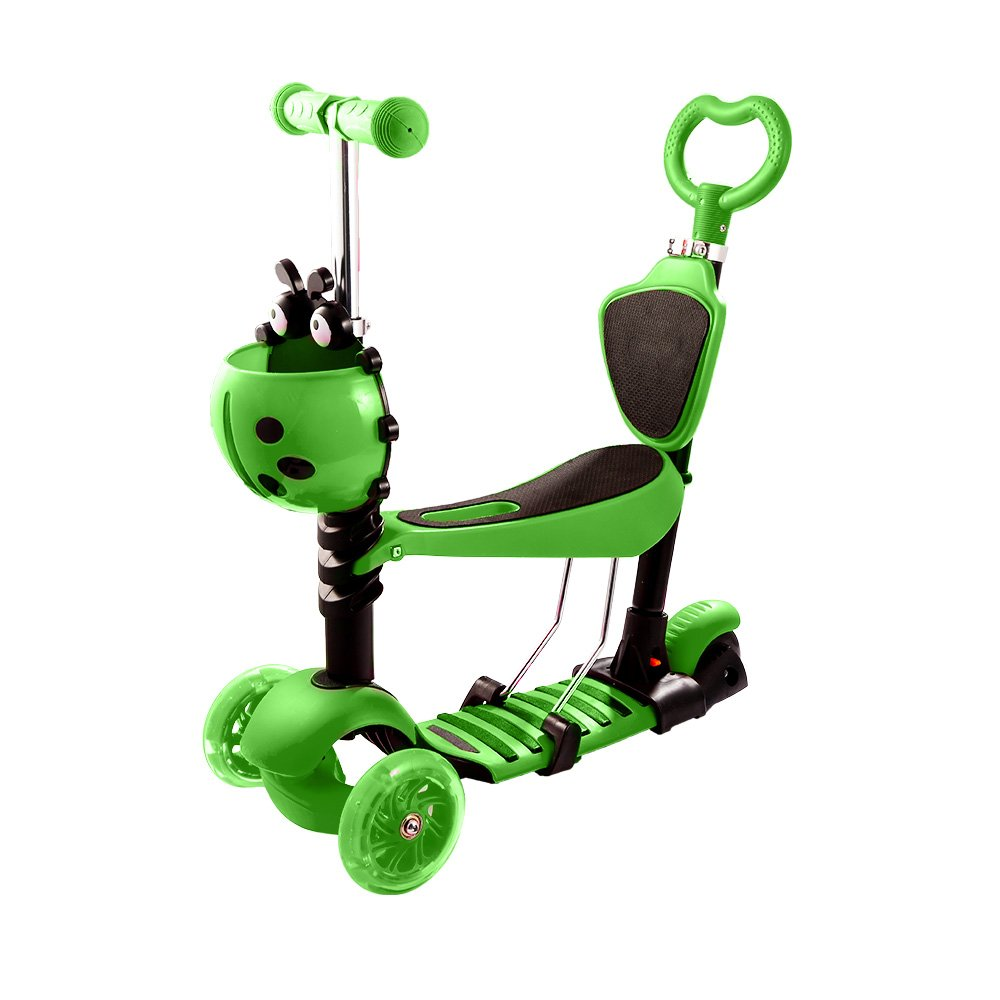 Hikole Scooter for Kids, 5-in-1 Scooter for Toddlers Girls & Boys, Removable Seat with LED Light Up Scooters Wheels, Adjustable Height, Child Scooter for Ages 3-8