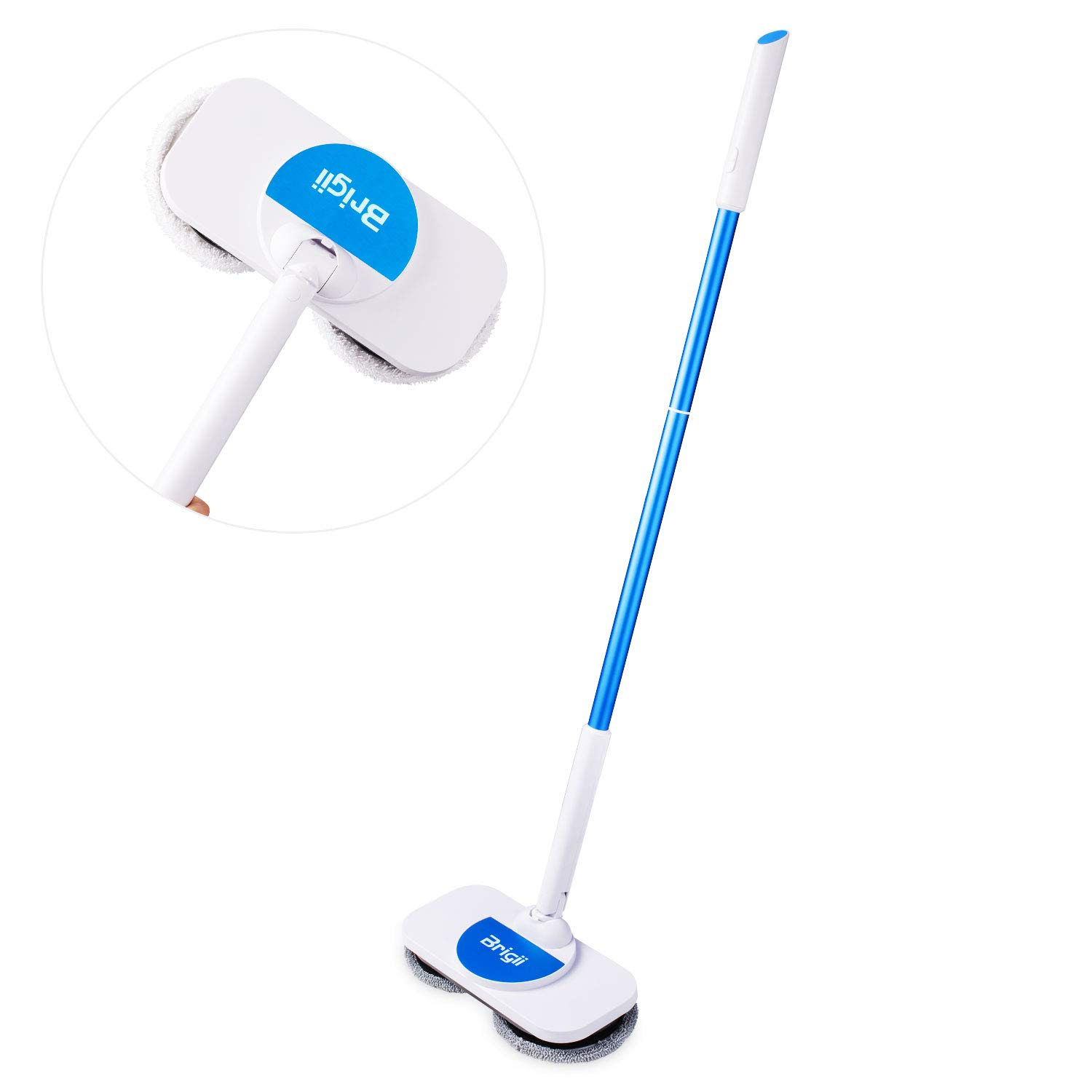 Brigii Electric Mop and Window Cleaner in One, 360 Rotation Cordless Mop for Hardwood,Vinyl,Tile,Laminate Floor Cleaning,Ligthweight Power Floor Polisher with Microfiber Cleaning Pads-X180 Blue