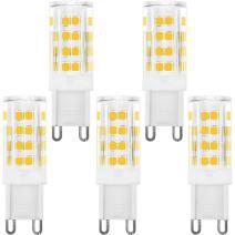 KINDEEP Dimmable G9 LED Bulb 40W Equivalent, 400LM Warm White 3000K, AC 110V 120V 4W G9 Ceramic Base, 360 Degree Beam Angle for Ceiling Light, Desk Lamp (5 Pack)