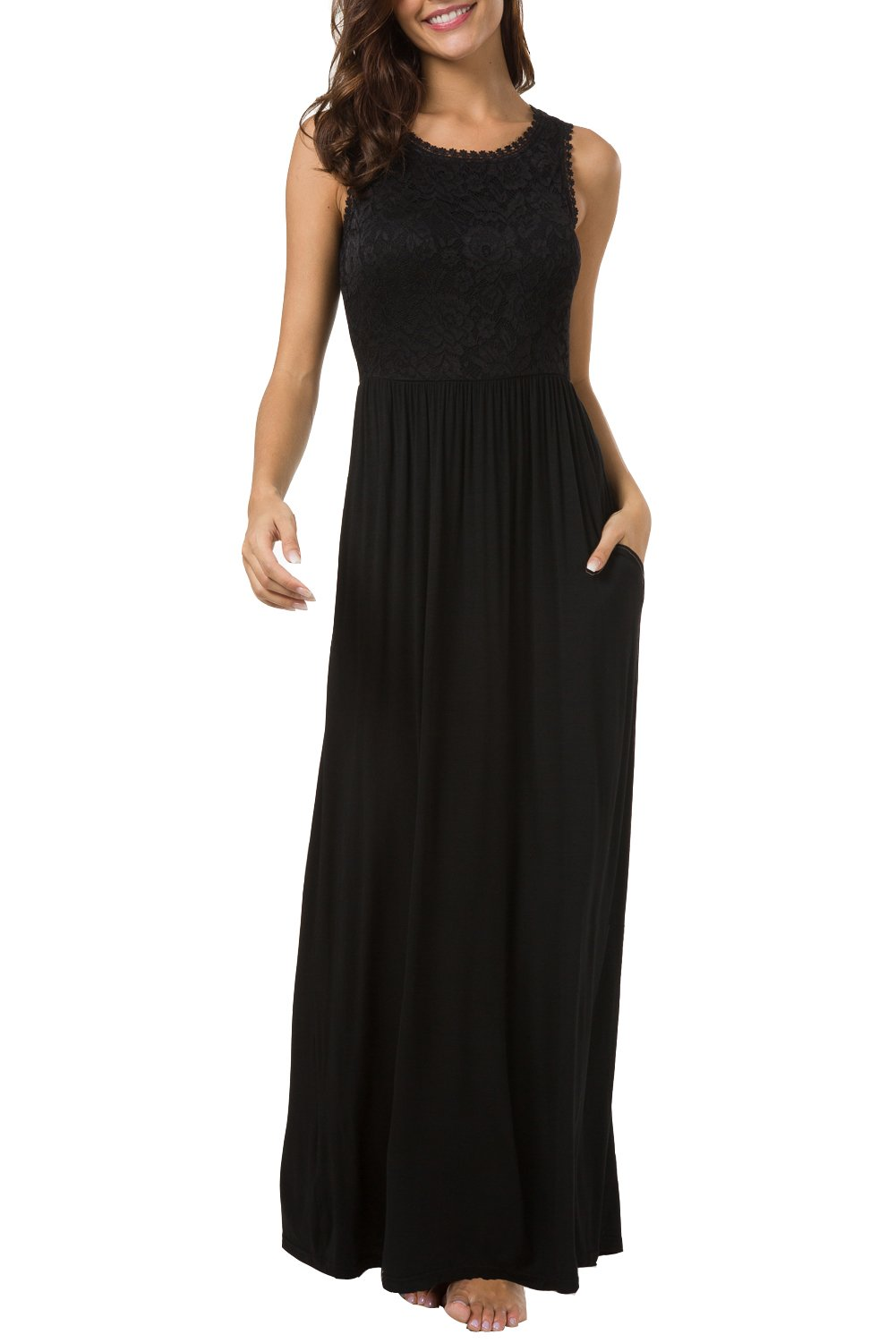 Zattcas Womens Casual Sleeveless Vintage Floral Lace Party Bridesmaid Wedding Maxi Dress … (X-Large, Style 2 - Black with Pockets)