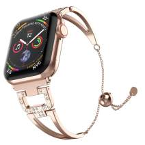 Mostof Bling Metal Bracelet Compatible with iWatch Bands 38mm 40mm 42mm 44mm, Women Girl Stainless Steel Jewelry Strap Bangle Replacement for iWatch Series 5 4 3 2 1, Rose Gold