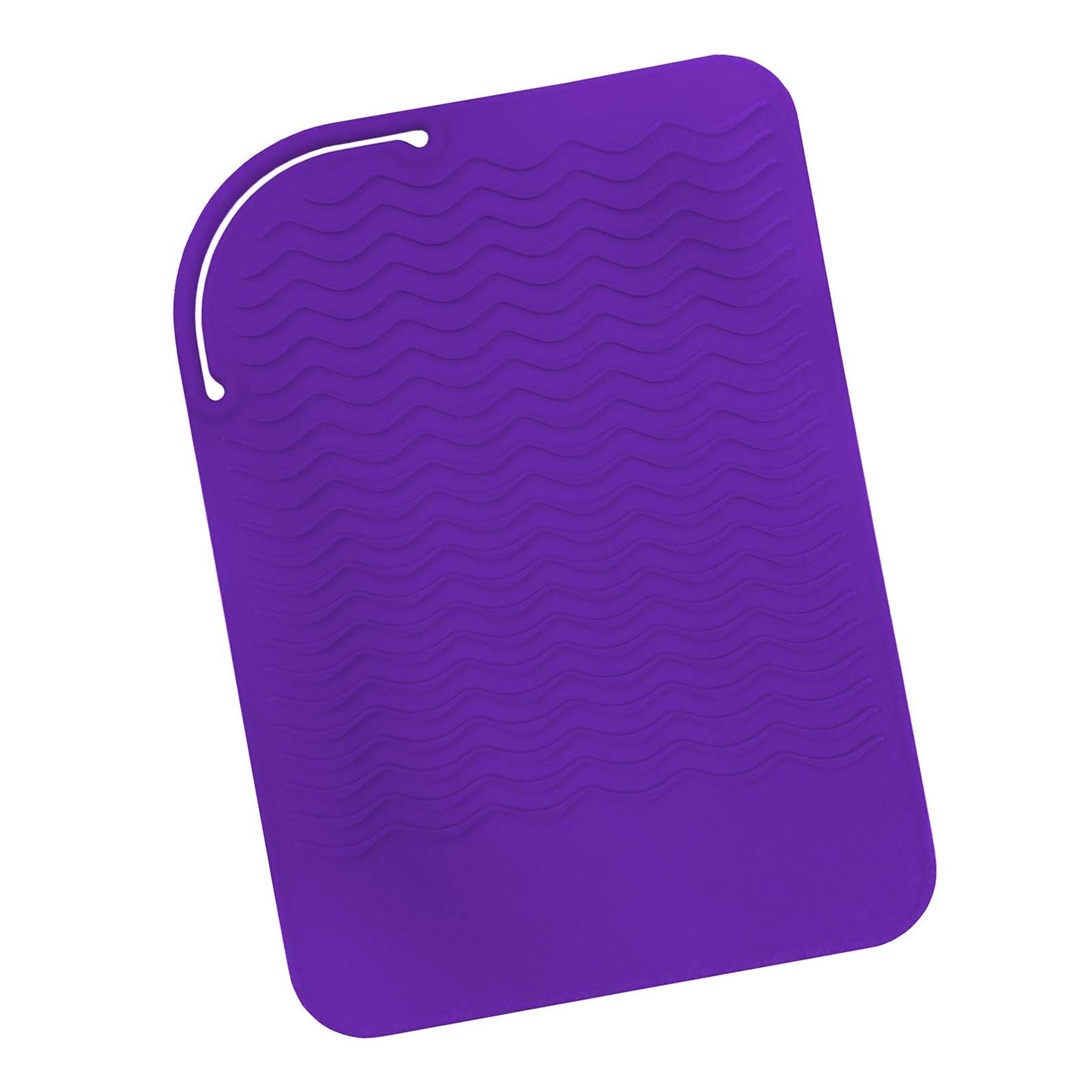 "Sygile 11"" X 7.5"" Larger Size Heat Resistant Silicone Travel Mat, Anti-heat Pad for Hair Straighteners, Curling Irons, Flat Irons and Other Hot Styling Tools - Purple"