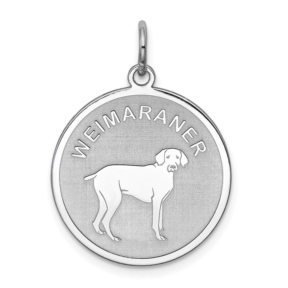 925 Sterling Silver Weimaraner Disc Pendant Charm Necklace Animal Dog Engravable Round Fine Jewelry For Women Gifts For Her