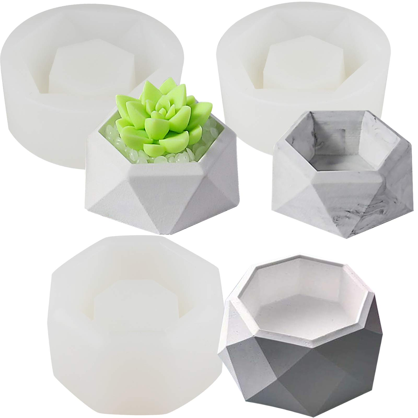 FUNSHOWCASE Faceted Geometry Flower Pot Silicone Molds 3-Count for Epoxy Resin Concrete Clay Succulent Planter Bowl Ashtray Candle Soap Pen Holder