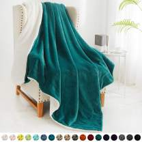 "Walensee Sherpa Fleece Blanket (Twin Size 60""x80"" Emerald Green) Plush Throw Fuzzy Super Soft Reversible Microfiber Flannel Blankets for Couch, Bed, Sofa Ultra Luxurious Warm and Cozy for All Seasons"