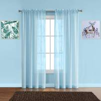 """Warm Home Designs Pair of Premium Quality Extra Long 54 x 108 Inch Sheer Baby Blue Faux-Linen Rod Pocket Curtains. Total Width of Affordable Drape Panels is 108"""". Fit 1.5"""" Rod. J Baby Blue 108"""""""