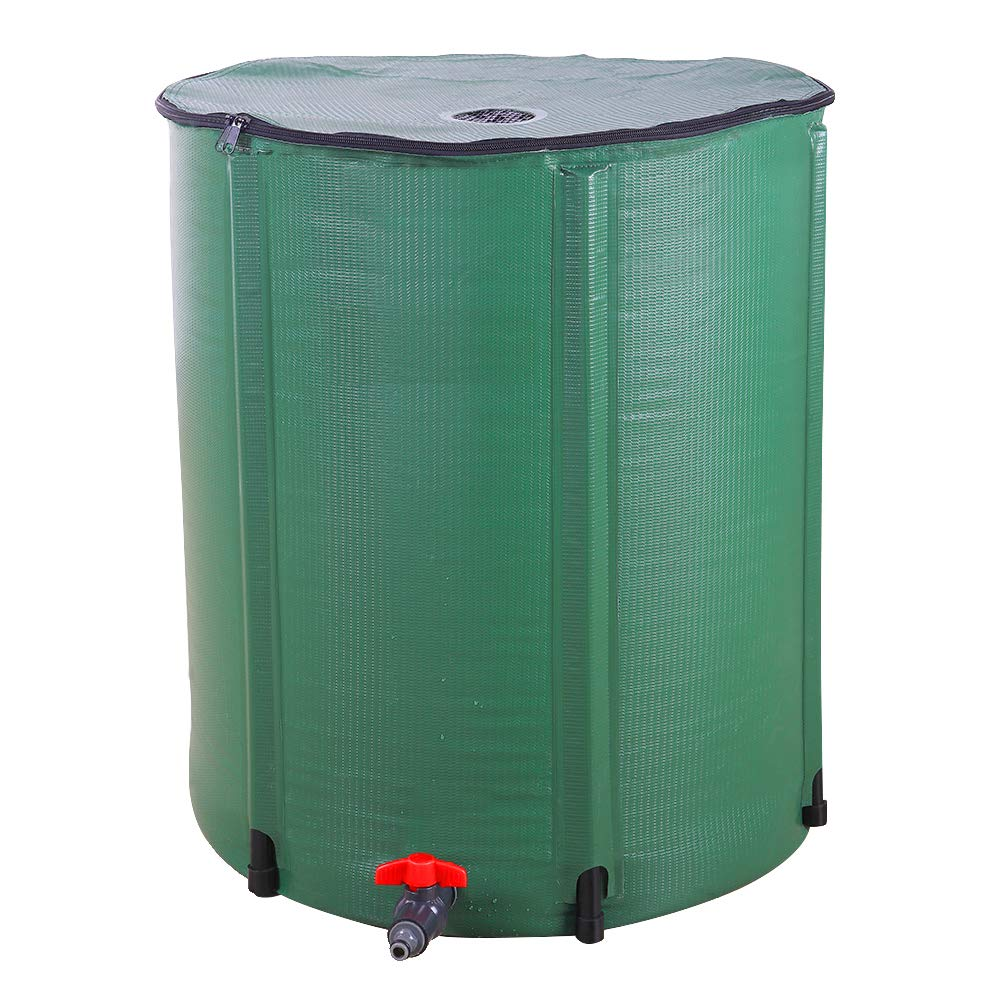 MathRose 66 Gallon Collapsible Rain Barrel Portable Water Storage Container Water Collector Tank with Spigot Filter Rainwater Collection System Downspout (66 Gallon)