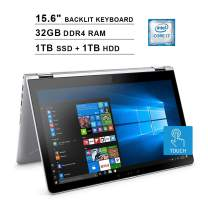 NexiGo Pavilion 15.6 Inch FHD 1080P 2-in-1 Touchscreen Laptop  Intel 4-Core i7-8550U?up to 4.0 GHz  32GB DDR4 RAM  1TB SSD (Boot) + 1TB HDD  AMD Radeon 530  Backlit KB  WiFi  Windows 10  Sliver